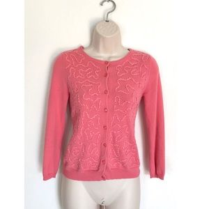 Anthropologie Odille Coral Button Down Cardigan